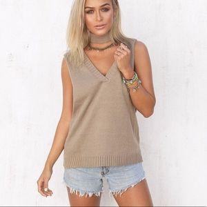 Sabo skirt camel sweater tank with choker